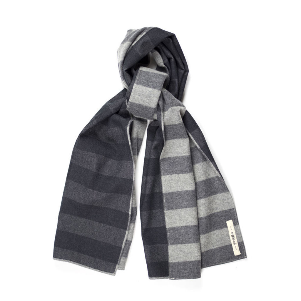 Wool / Cotton Border Stripe Flannel Scarf