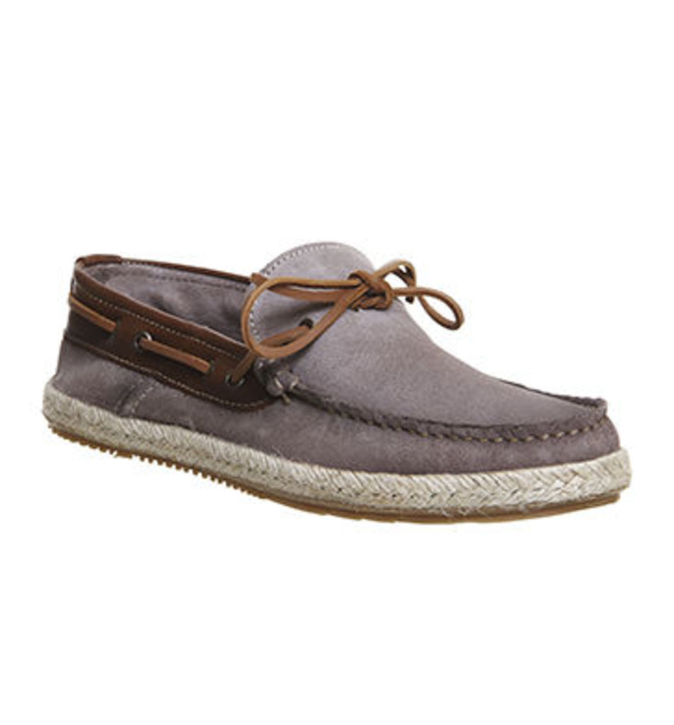 Office Done Boat Shoe GREY SUEDE TAN LEATHER