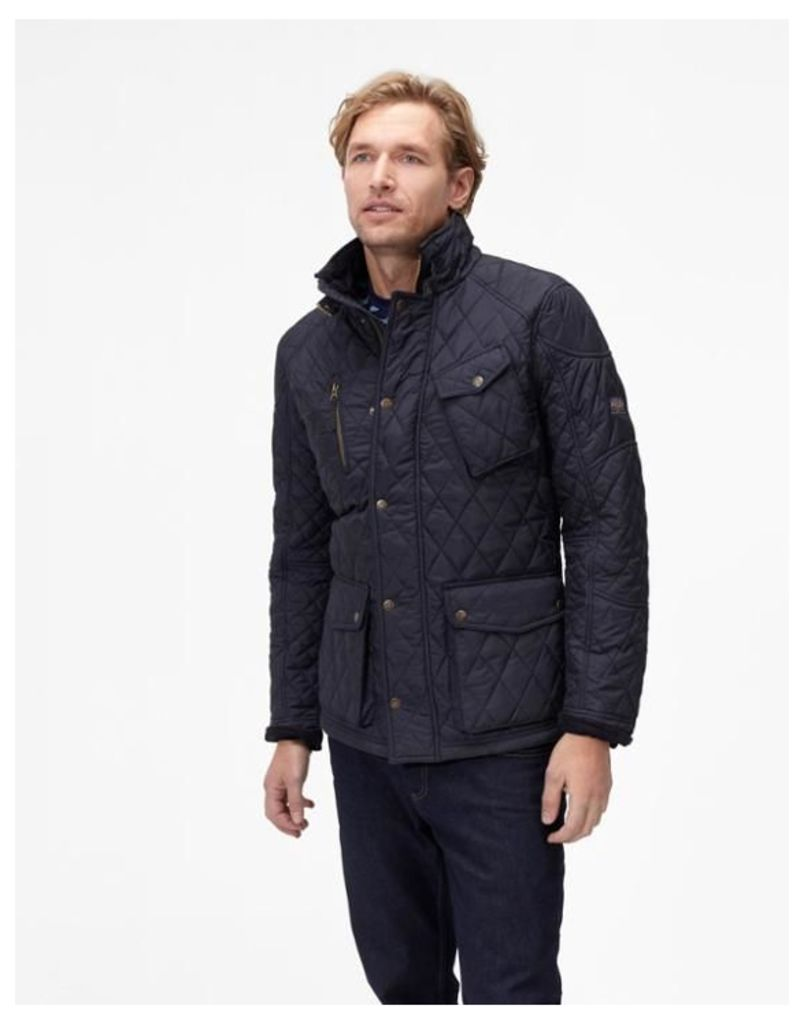 Marine Navy Stafford Quilted Jacket  Size S | Joules UK