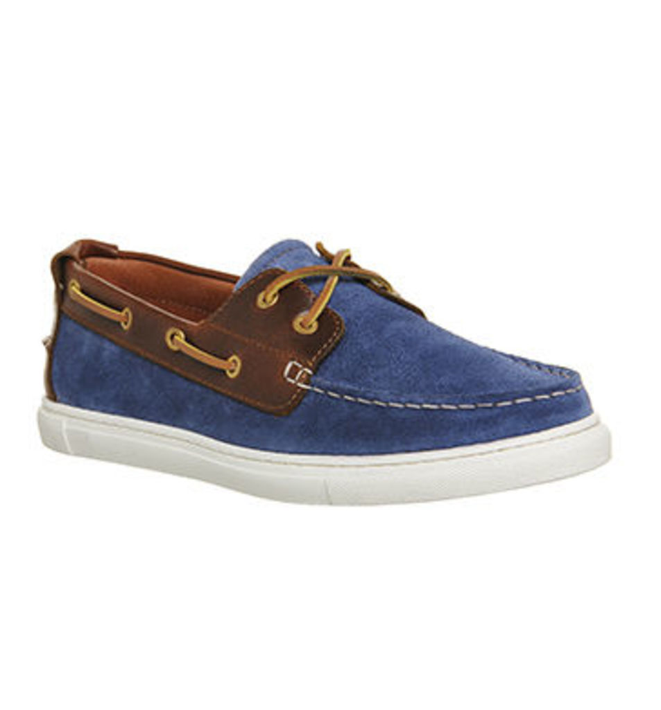 Ask the Missus Dock Boat Shoe NAVY SUEDE TAN LEATHER
