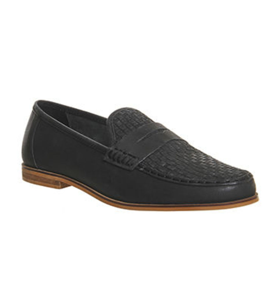 Office Dulwich Woven Loafer BLACK WASHED LEATHER