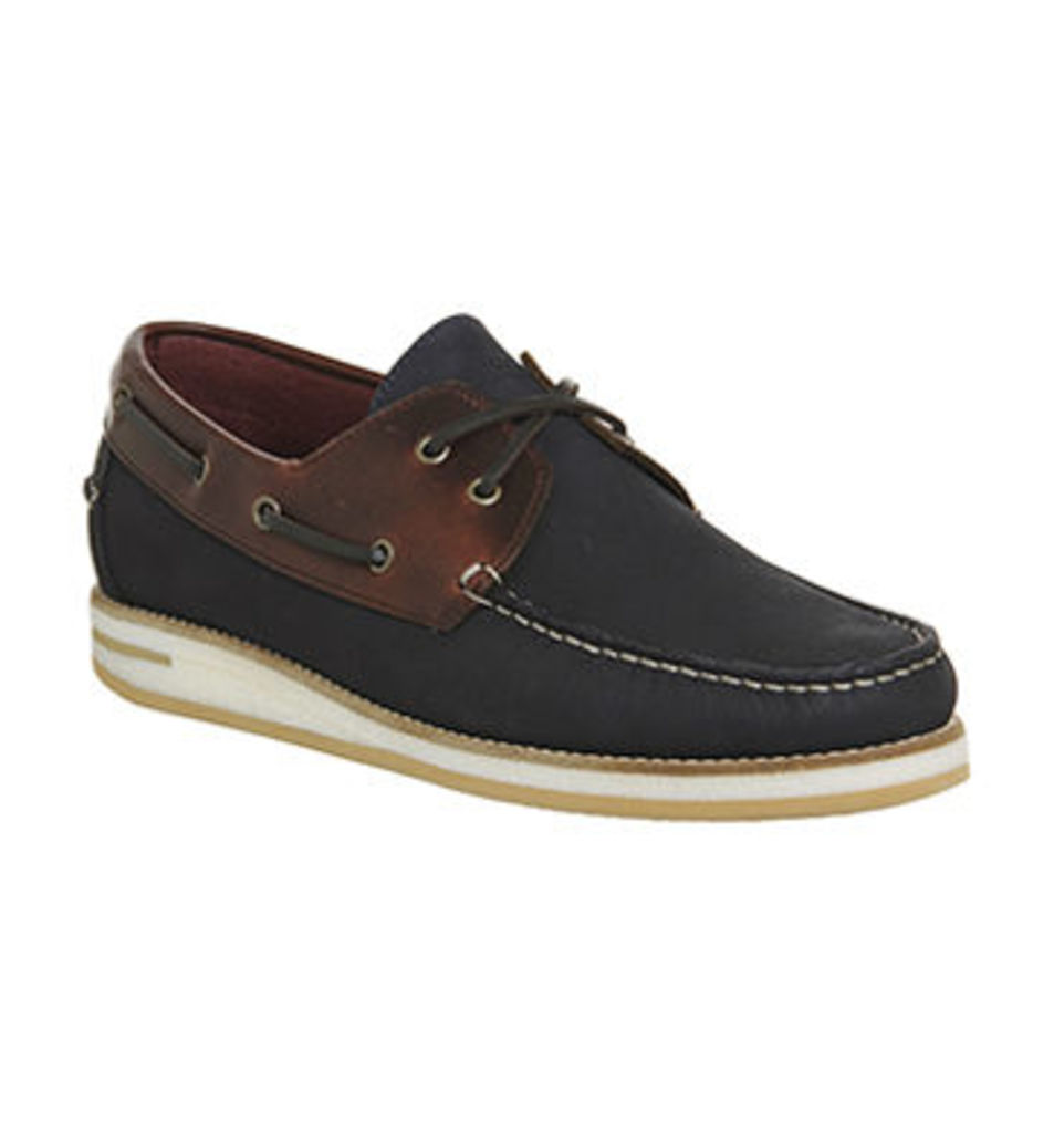 Poste Duoro Boat Shoe NAVY NUBUCK TAN LEATHER