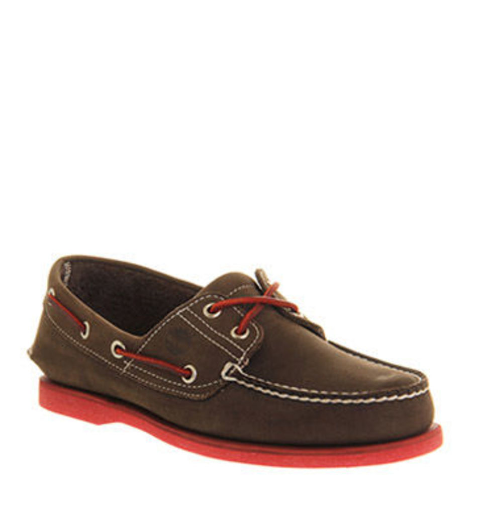 Timberland Icon Boat Shoe BROWN TRAVELBUCK LEATHER RED SOLE