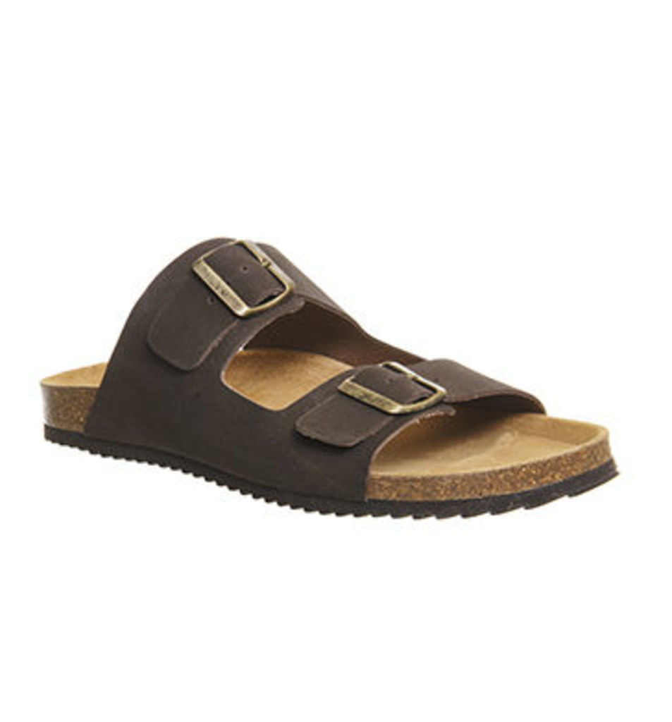 Office Dubai Buckle Sandals BROWN LEATHER