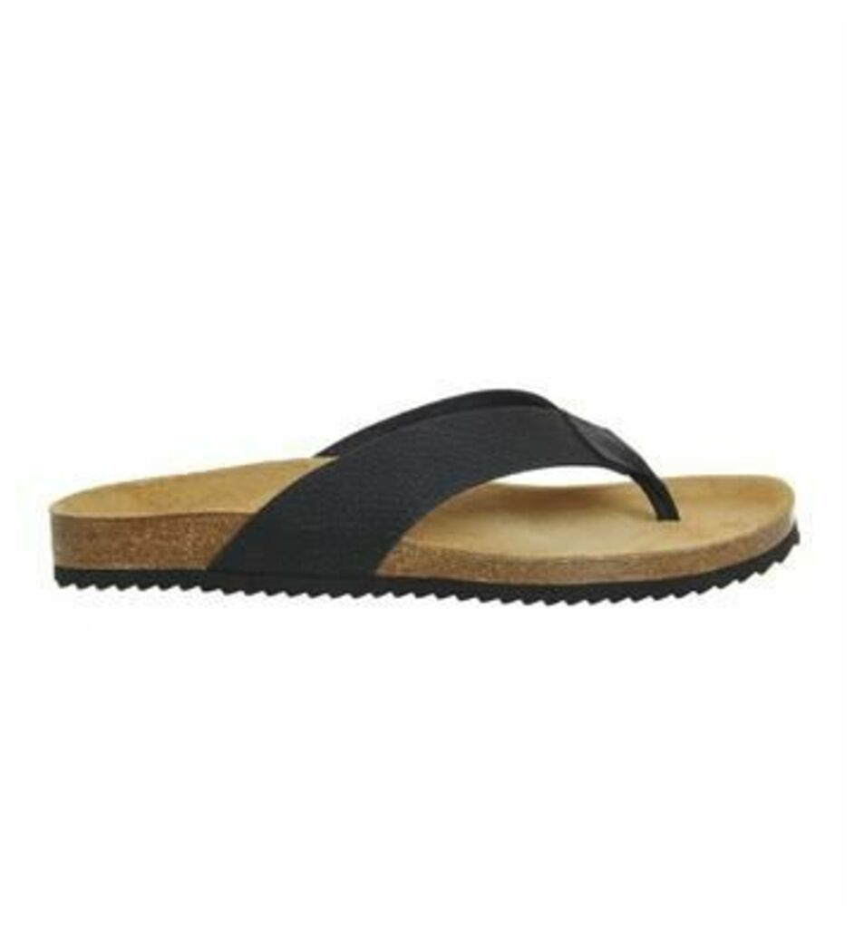 Office Darwin Thong Sandal BLACK LEATHER