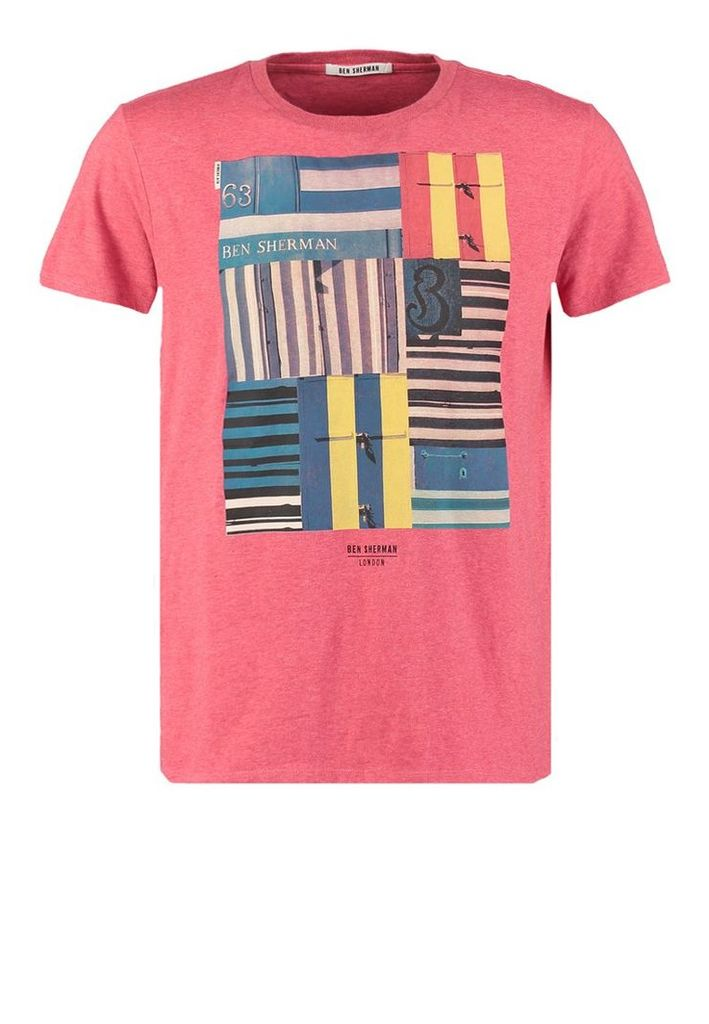 Ben Sherman BEACH MOD FIT Print Tshirt coral red marl