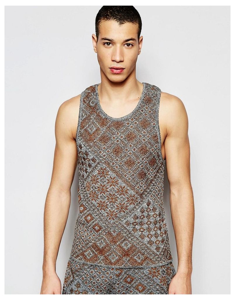 ASOS Knitted Vest with Aztec Design - Grey