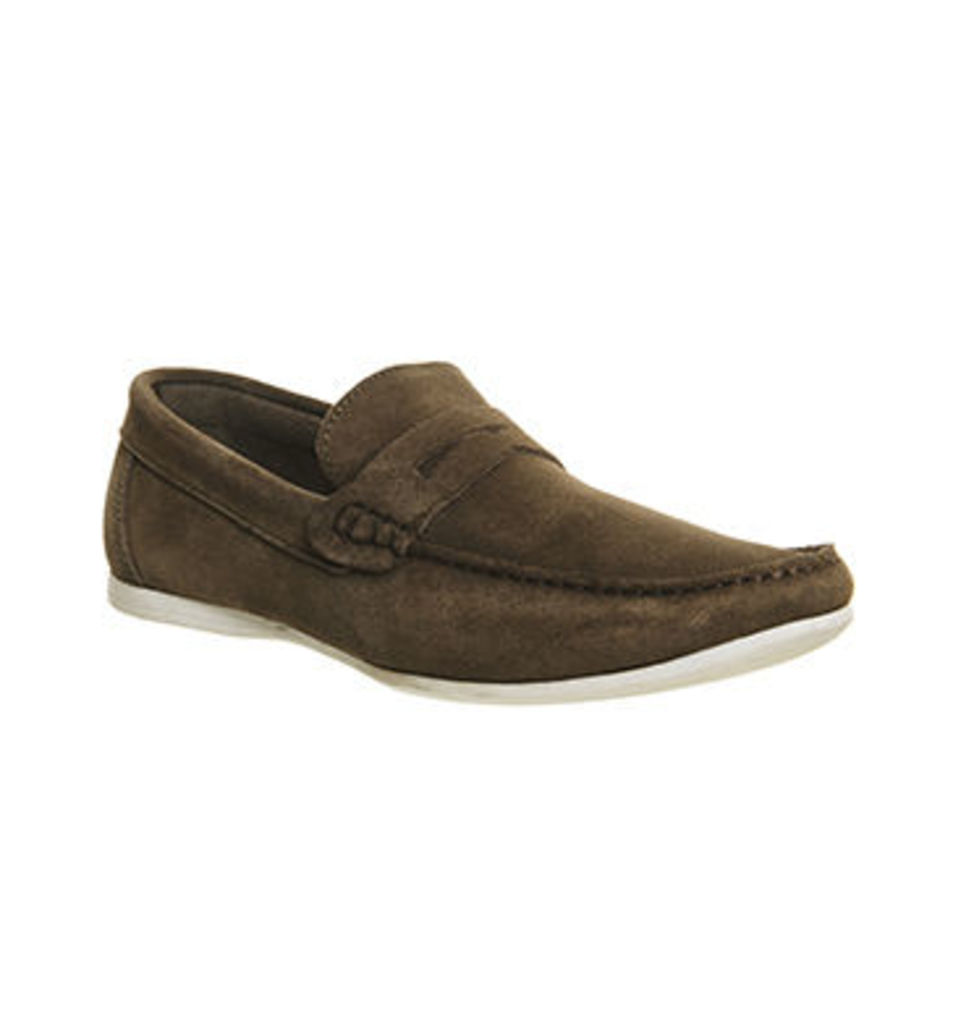 Ask the Missus Orlando Penny Loafer KHAKI SUEDE WHITE SOLE
