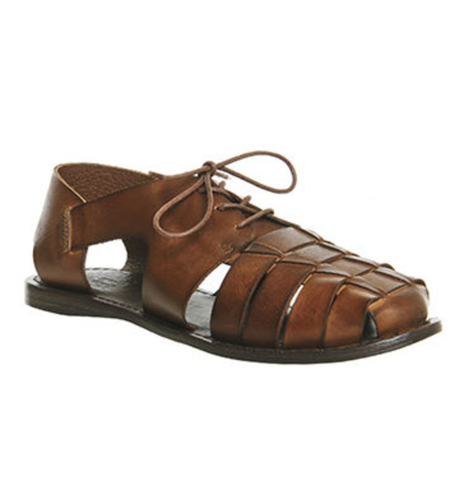 Ask the Missus Dune Woven Sandal DARK TAN LEATHER
