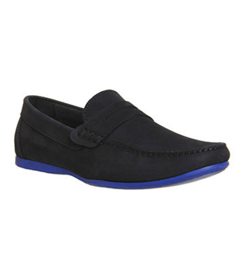 Ask the Missus Orlando Penny Loafer NAVY NUBUCK BLUE SOLE