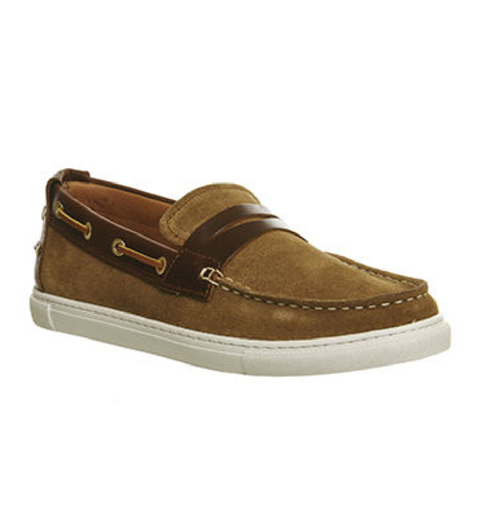 Ask the Missus Dock Boat Slip On RUST SUEDE TAN LEATHER