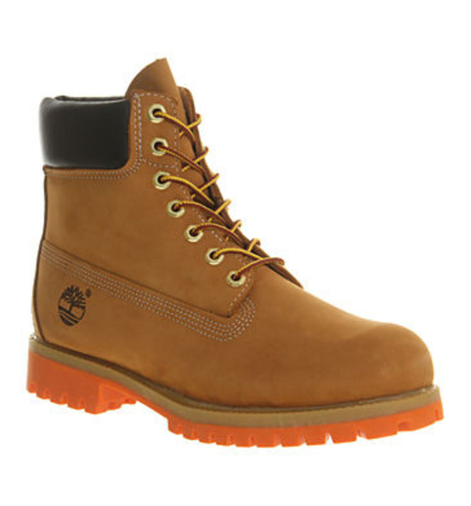 Timberland Exclusive 6 Inch boots WHEAT NUBUCK ORANGE SOLE