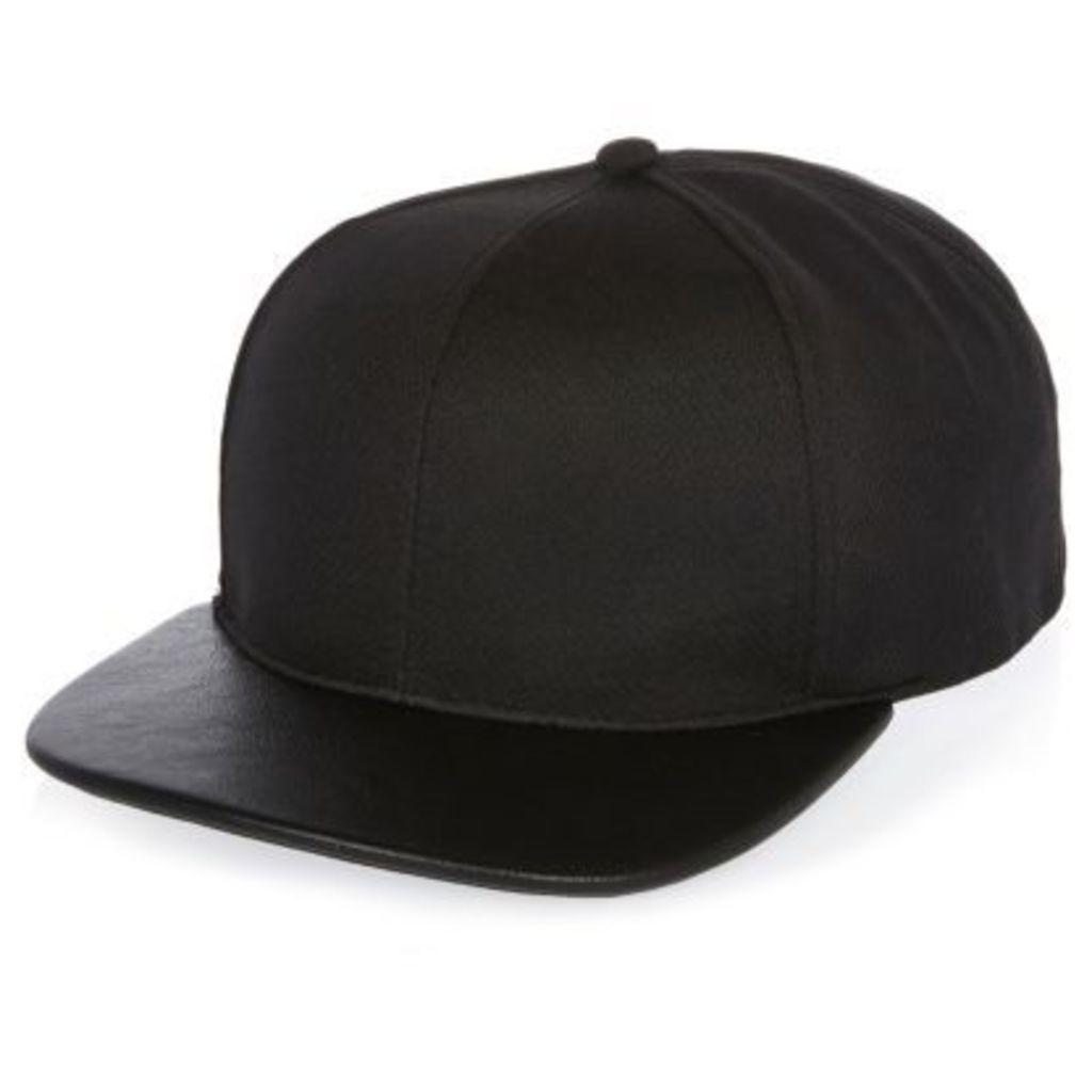 River Island Mens Black perforated cap