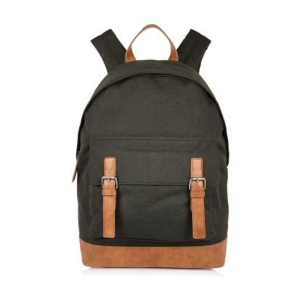 River Island Mens Dark Green canvas buckle backpack