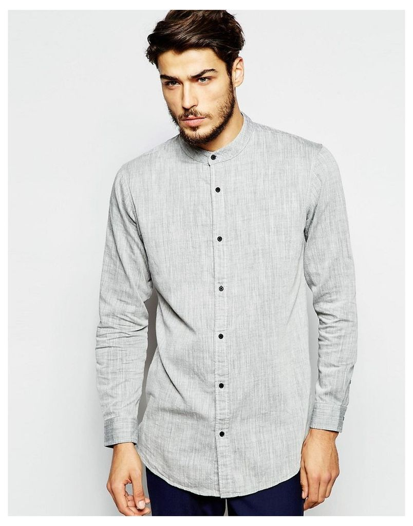 ADPT Longline Grandad Shirt In Regular Fit - Grey