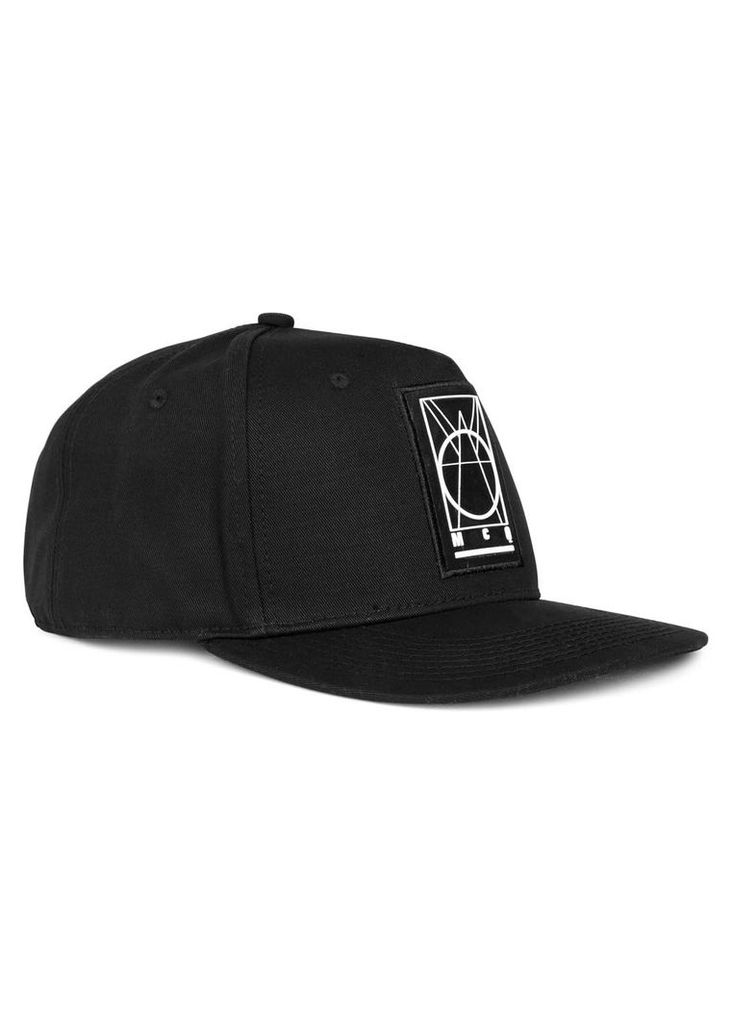 Black rubberised-logo cotton cap