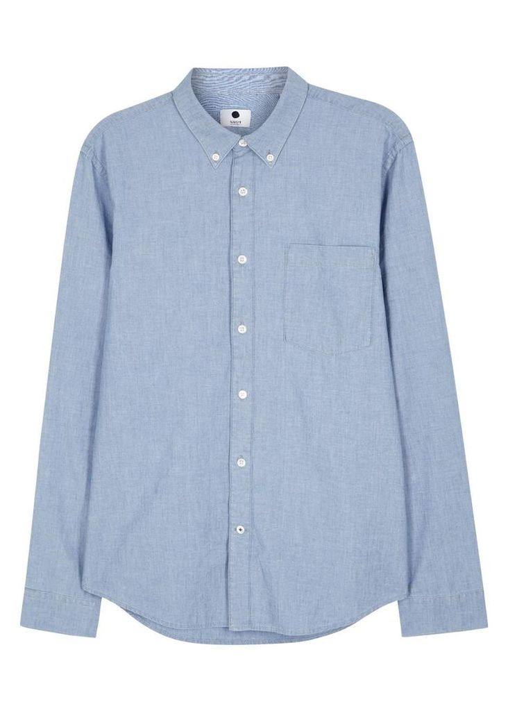 Falk blue cotton chambray shirt