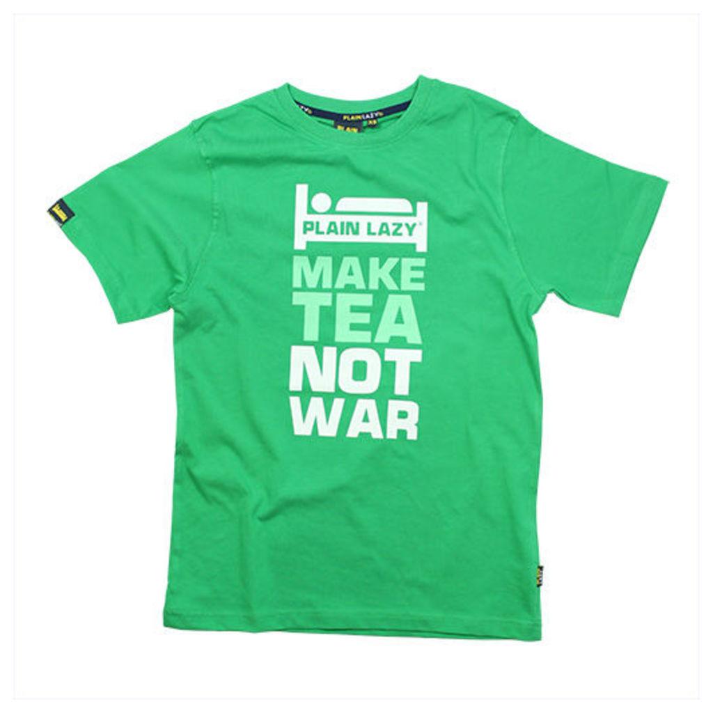 MAKE TEA NOT WAR KELLY GREEN MENS T-SHIRT