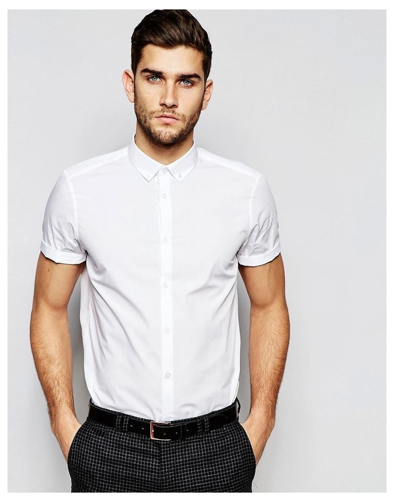 ASOS White Shirt With Button Down Collar In Regular Fit With Short Sleeves - White