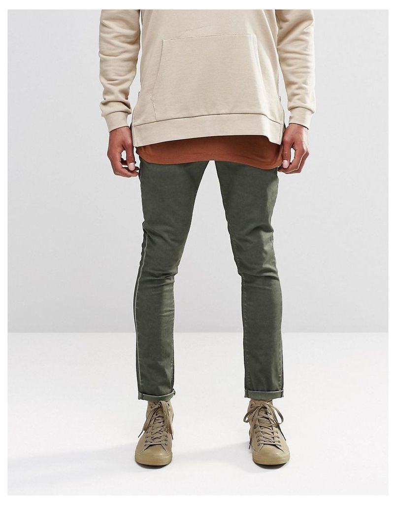 ASOS Super Skinny Chinos With Oil Wash In Green - Rosin