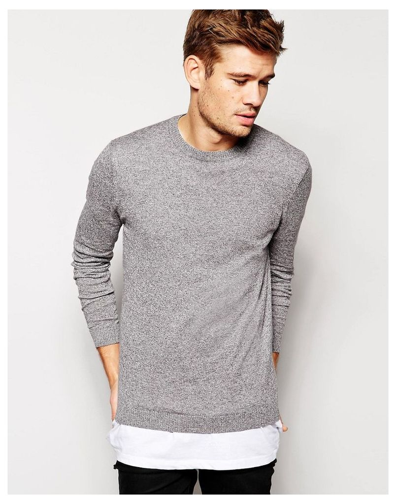 ASOS Crew Neck Jumper in Cotton - Grey