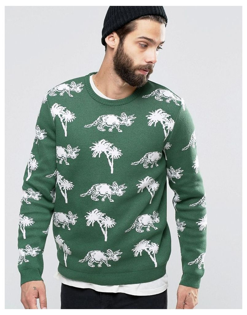 ASOS Jumper with Dinosaurs and Palm Trees - Green