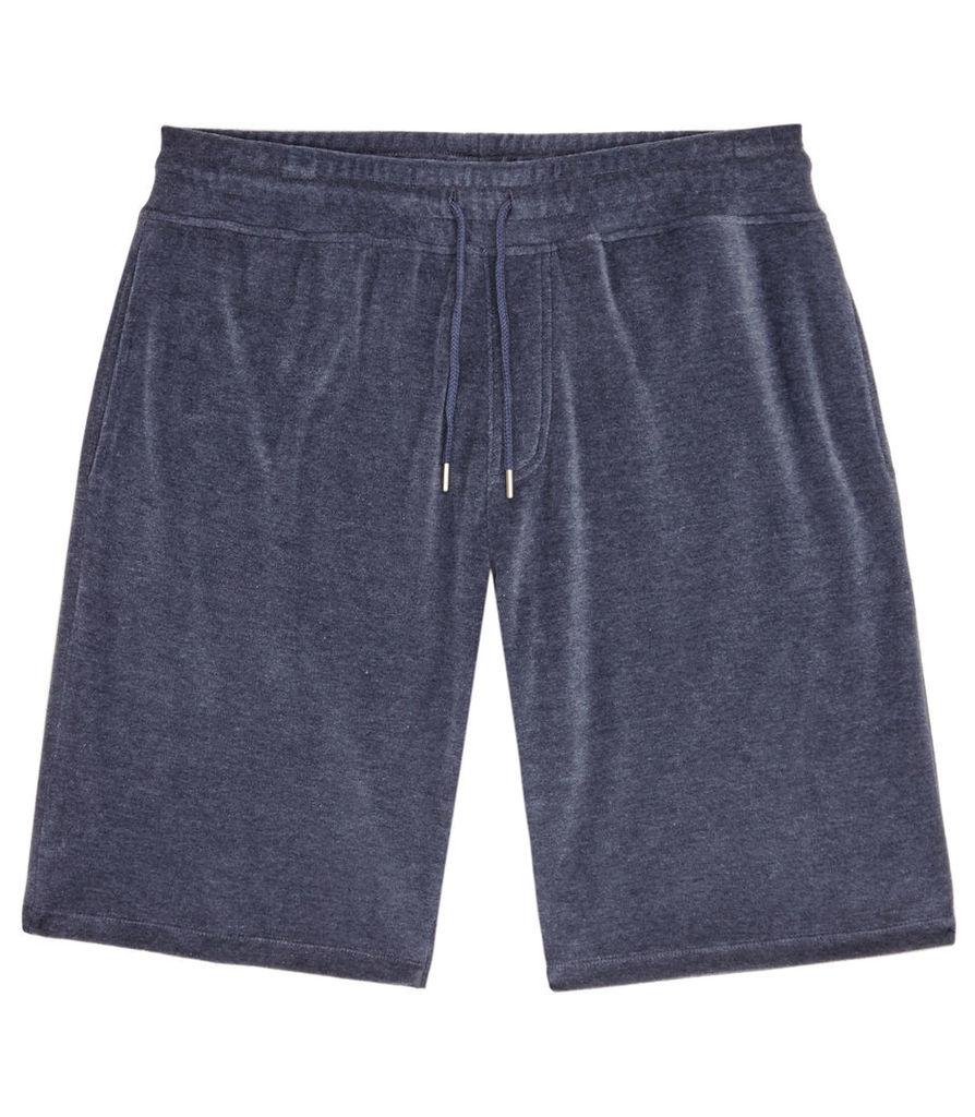 REISS Campari - Mens Velour Drawstring Shorts in Blue
