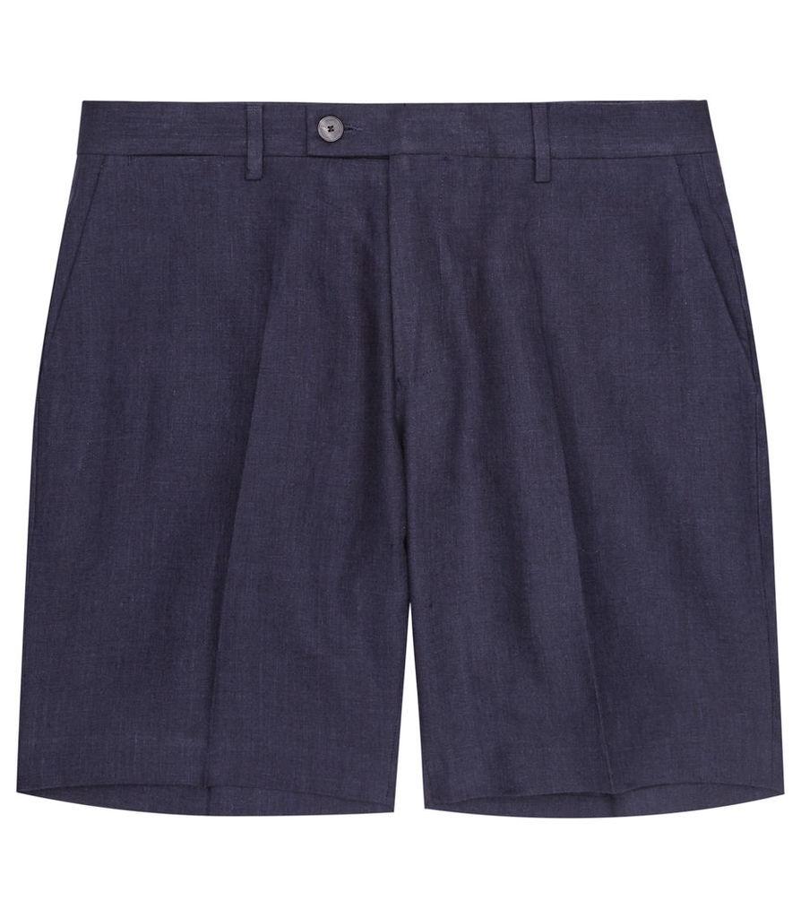 REISS Sky - Mens Linen Shorts in Blue