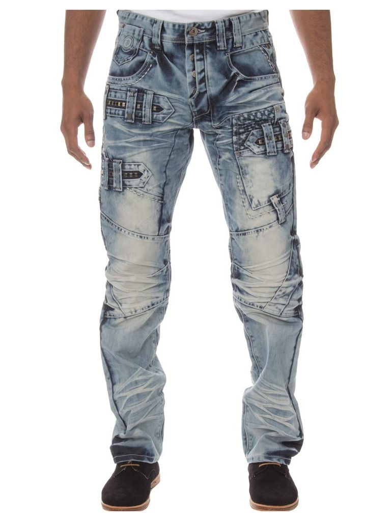 Mens Straight Fit Funky Light Stonewash Jeans