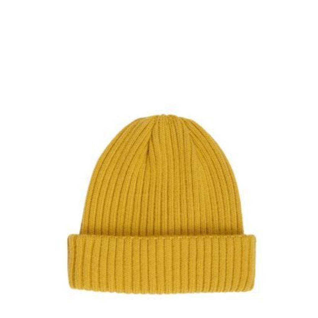 River Island Mens Mustard fisherman beanie