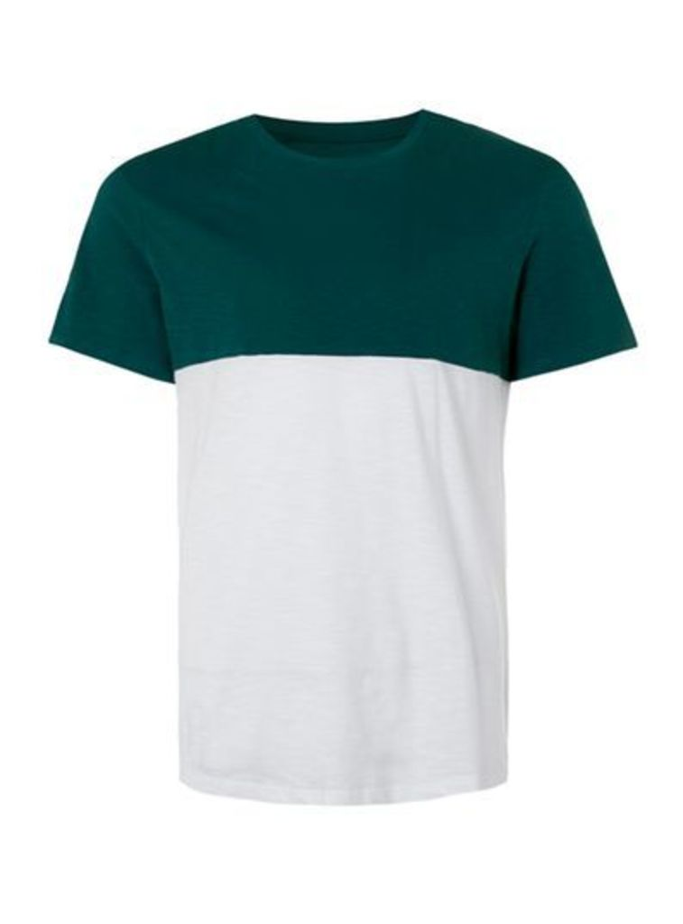 Mens White and Green Slub Panelled T-Shirt, Green