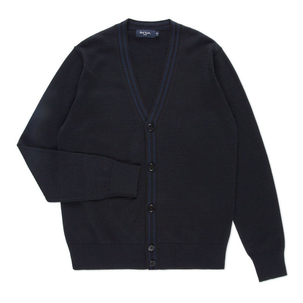 Paul Smith Men's Black Cotton-Blend Ribbed Cardigan