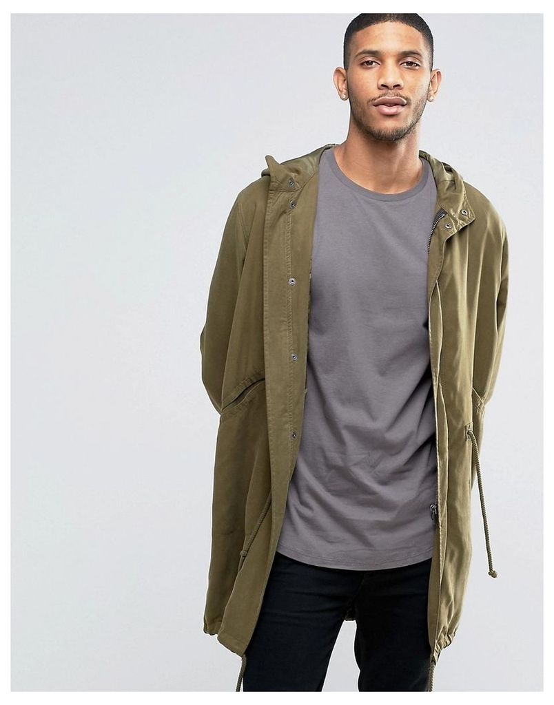 ASOS Tencel Parka Jacket In Khaki - Khaki