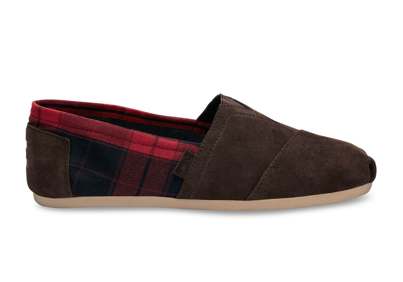 Chocolate Brown Suede/Red Plaid Men's Classics