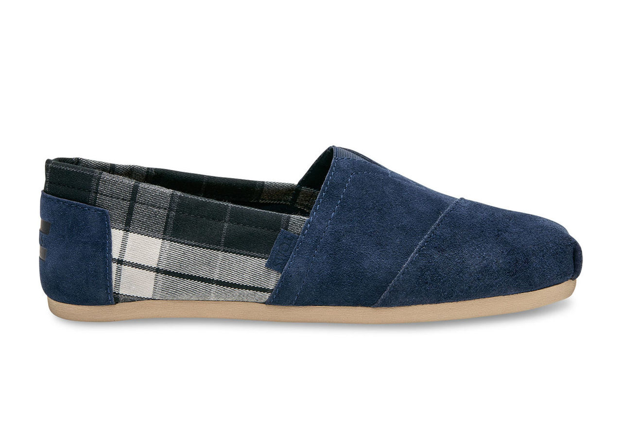 Navy Suede/Black Plaid Men's Classics