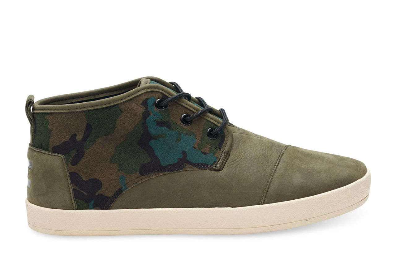 Camo Olive Full Grain Leather and Suede Men's Paseo Mids