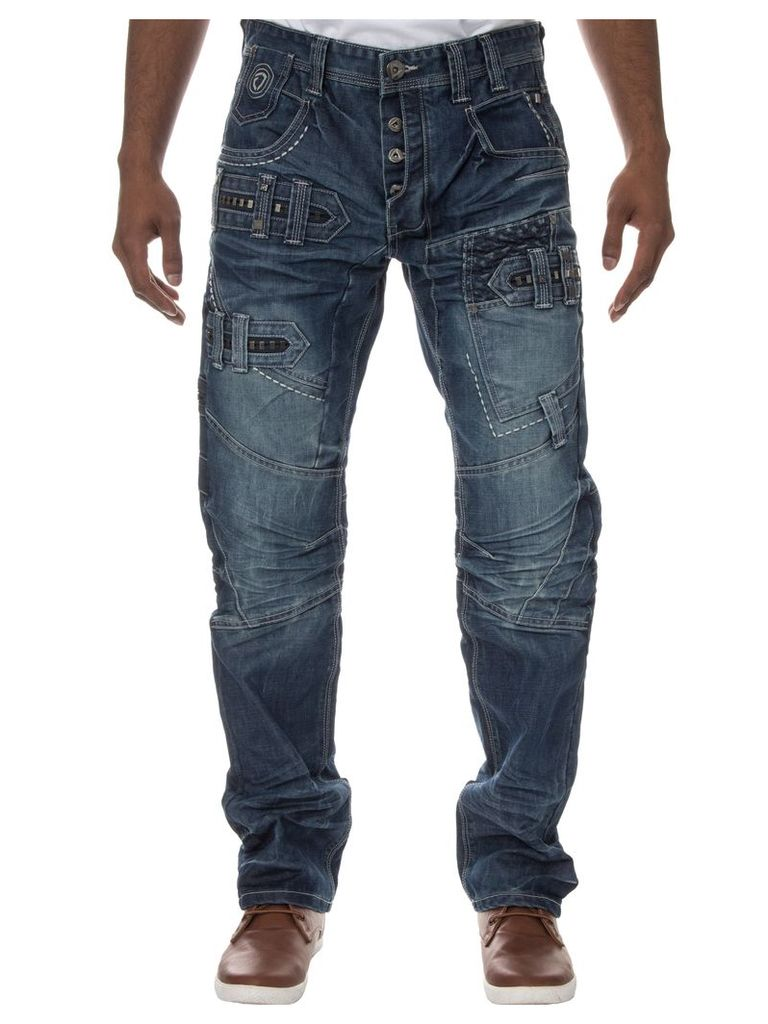 Mens Straight Fit Funky Mid Stone Wash Jeans