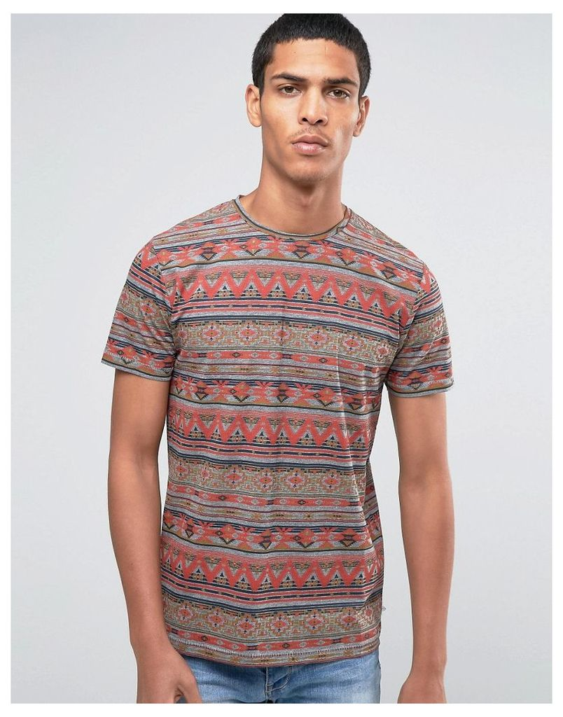 Esprit Crew Neck T-Shirt with All Over Aztec Print - Multi
