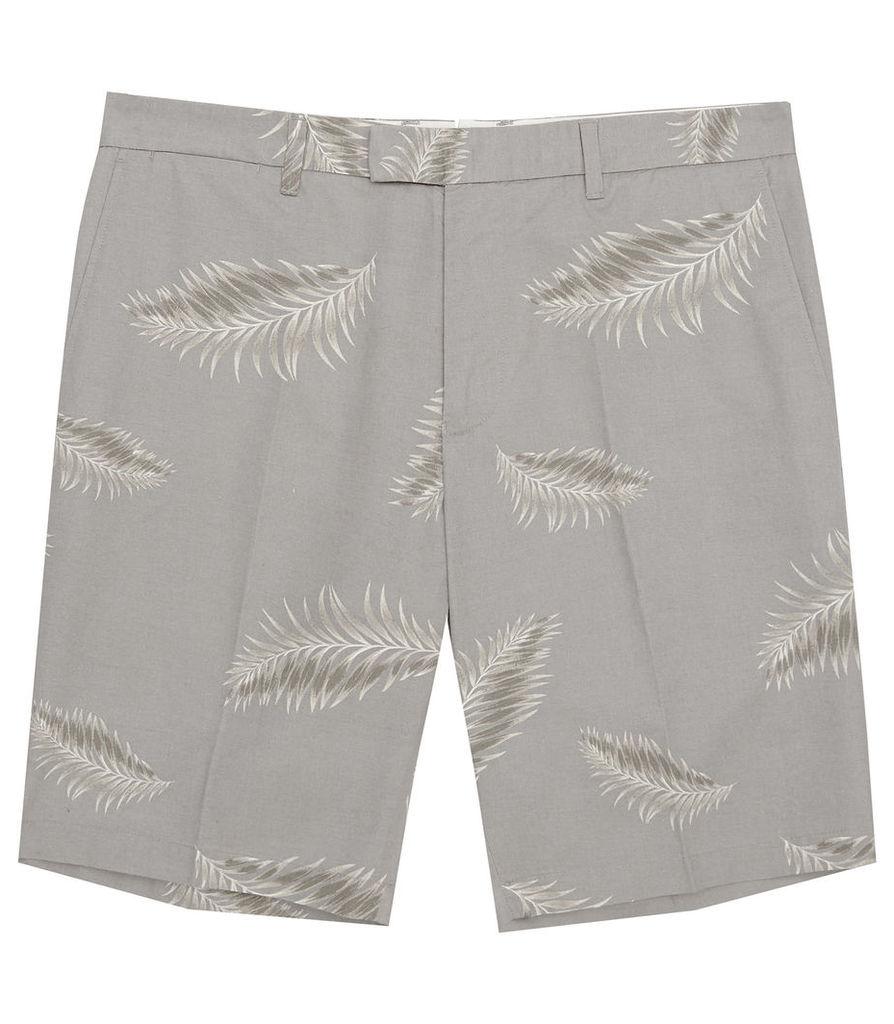 REISS Jamaica - Mens Palm Print Shorts in Blue