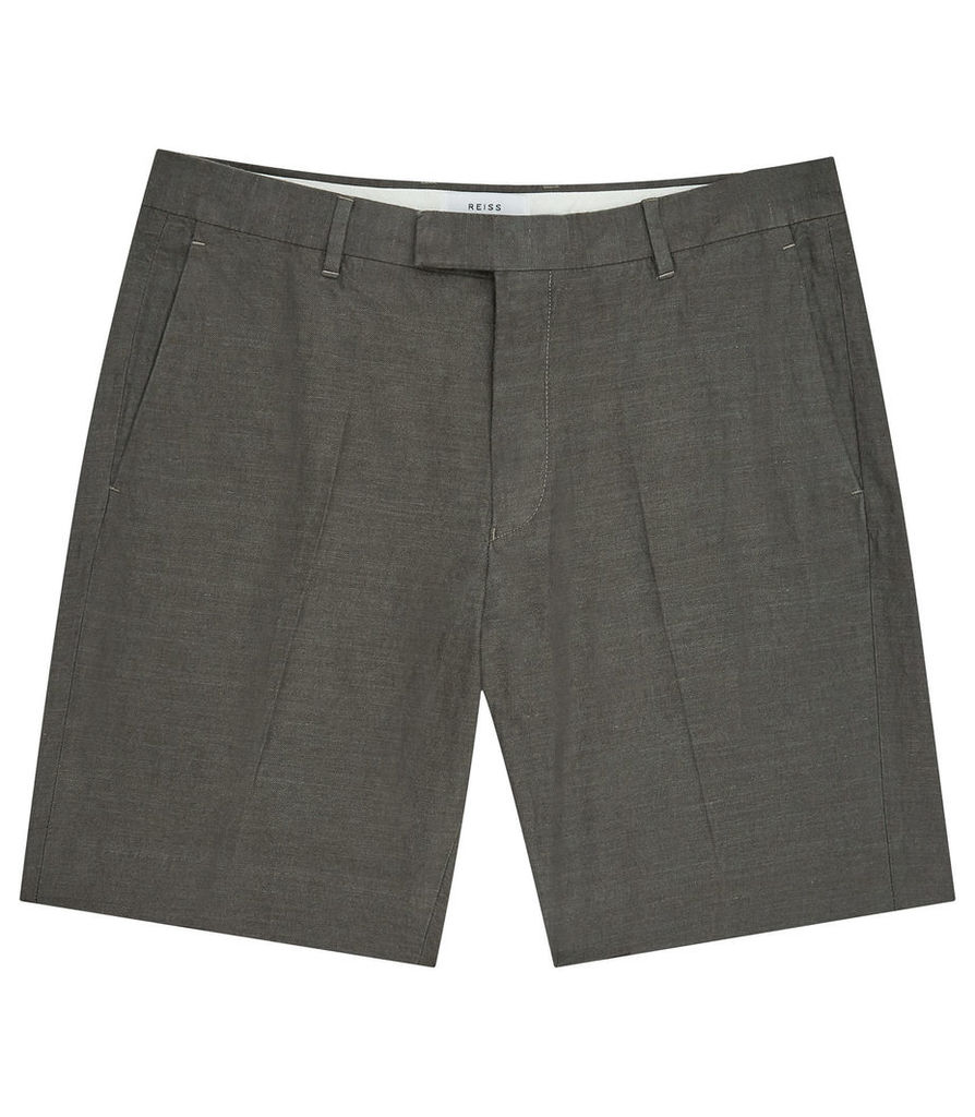 REISS Valley - Mens Linen And Cotton Shorts in Brown