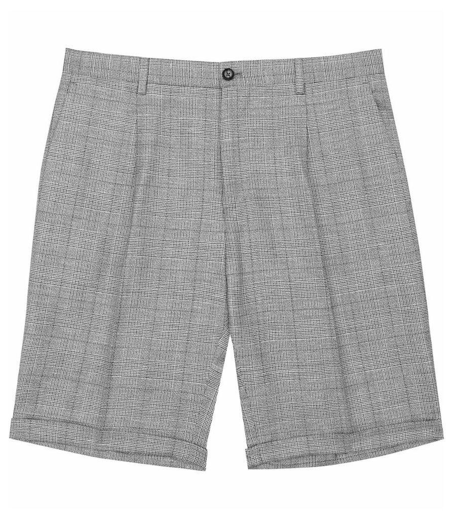 REISS Buckingham S - Mens Check Shorts in Grey