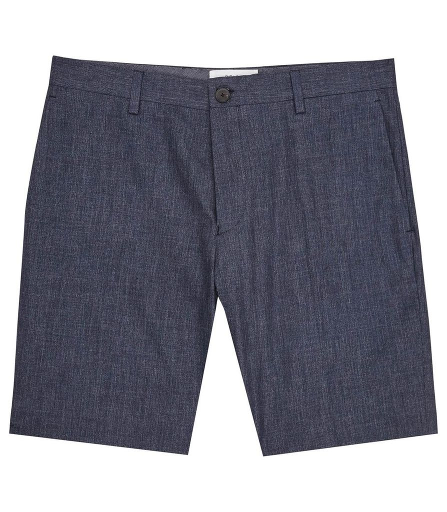 REISS Geronimo S - Mens Tailored Cotton Shorts in Blue