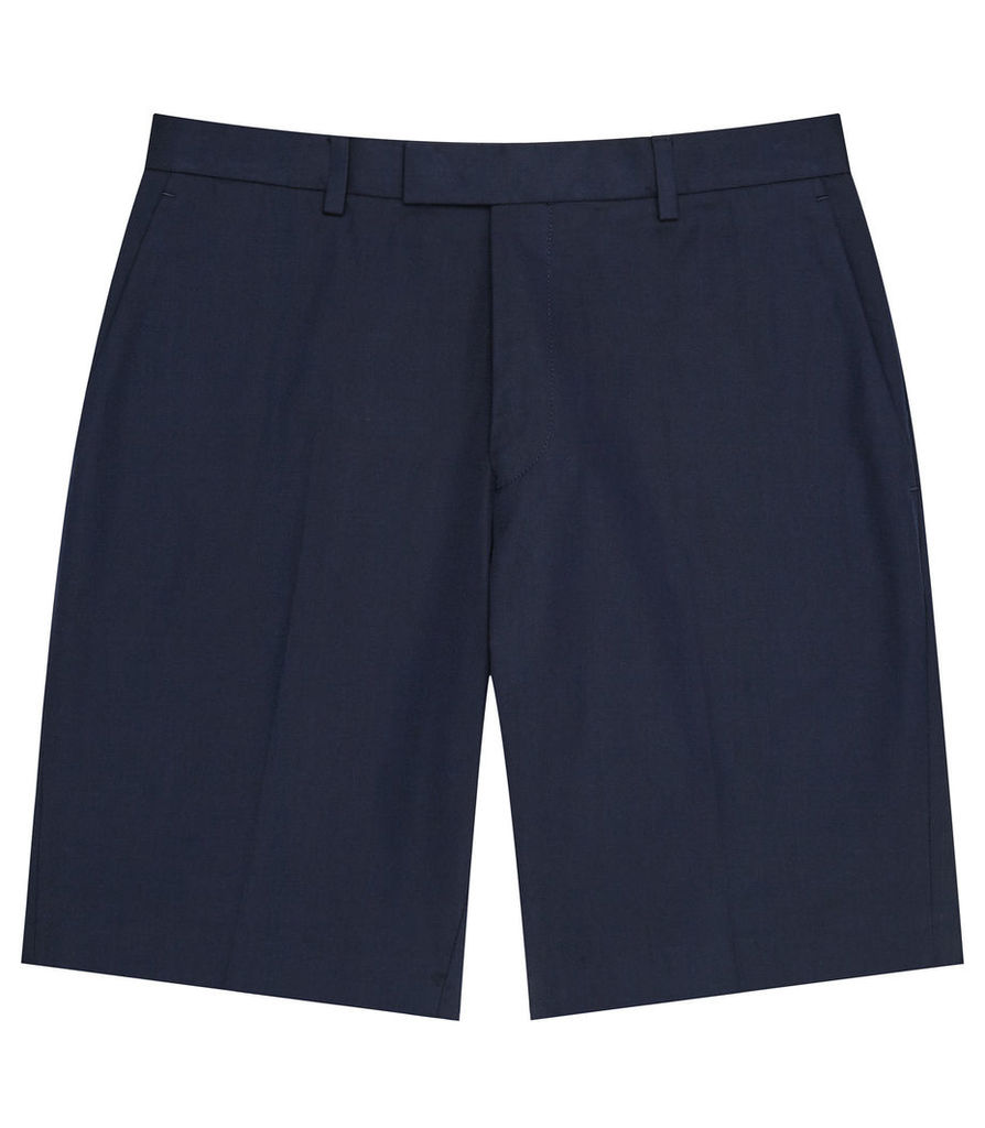 REISS Montgomery - Mens Twill Cotton Shorts in Blue