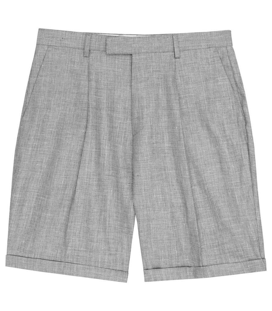 REISS Roman S - Mens Herringbone Shorts in Grey