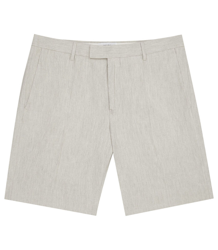REISS Valley - Mens Linen And Cotton Shorts in White