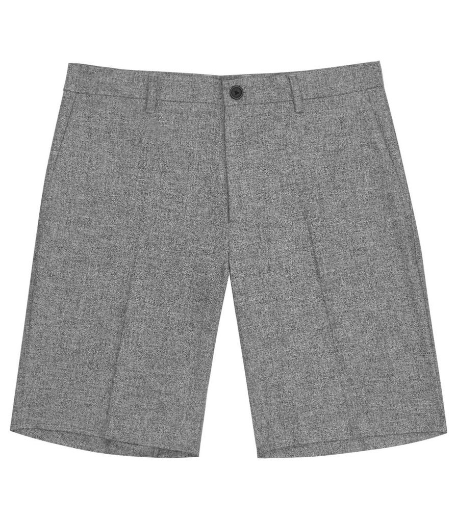 REISS Ball - Mens Cotton And Linen Shorts in Grey