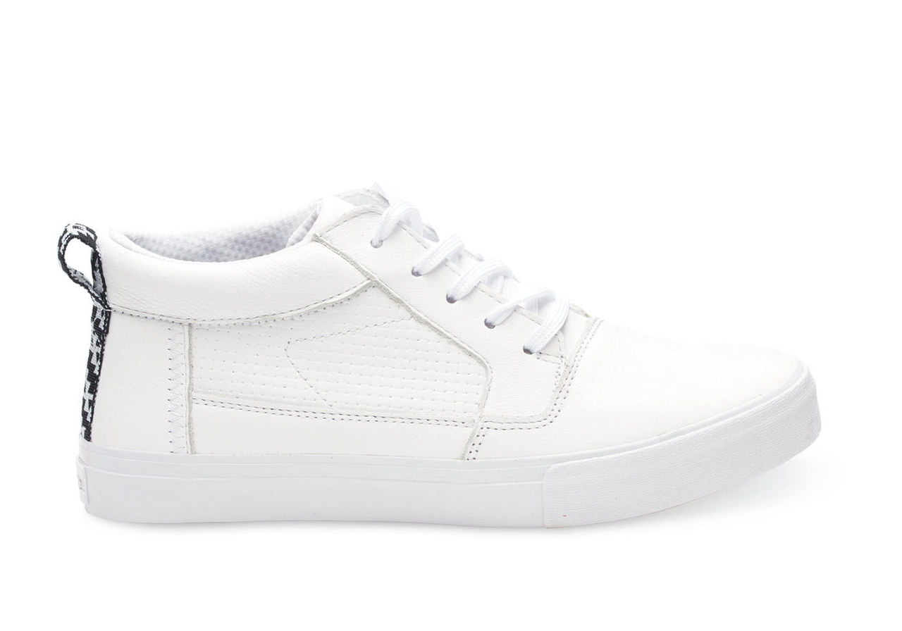 White Full Grain Leather Embossed Men's Valdez Mids