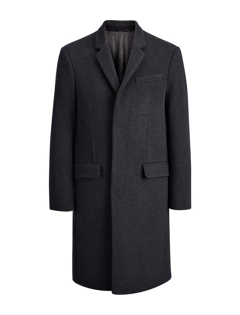 Wool London Coat in Charcoal Chine