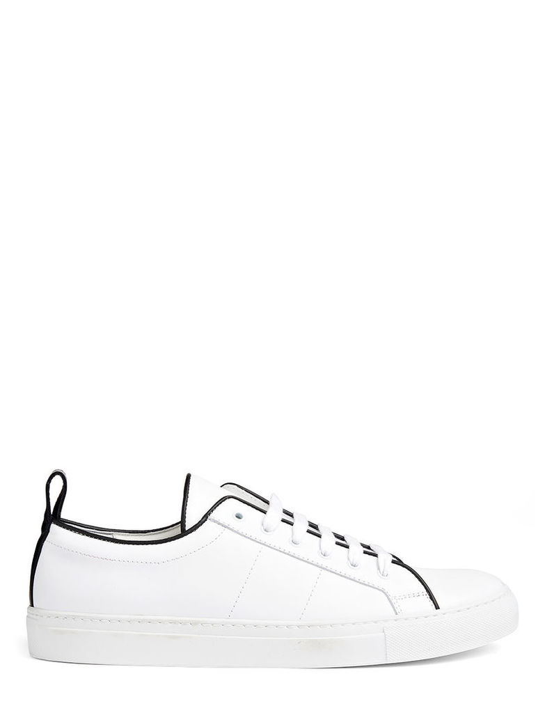 Leather Trainer in White/black
