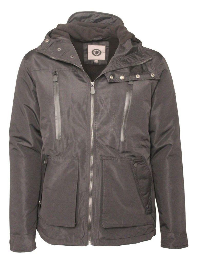 Mens Hoody Jacket With Zip Detail Eston Black